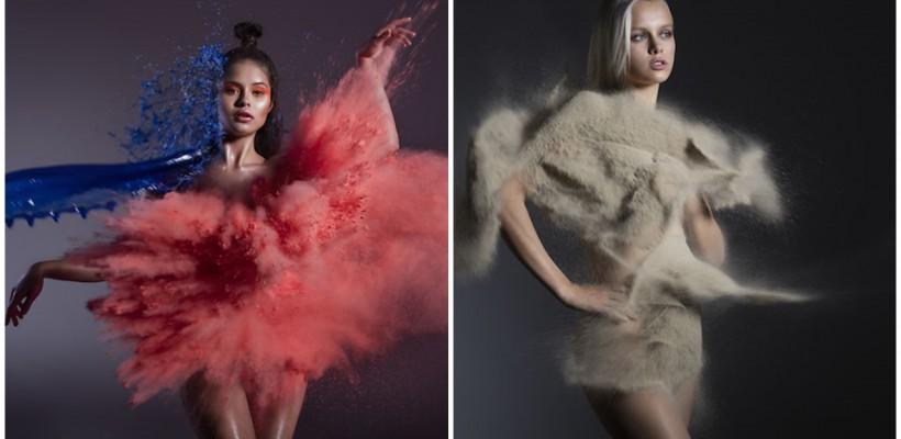 Modele îmbrăcate în nisip, apă, foc și vânt. Zero Photoshop…