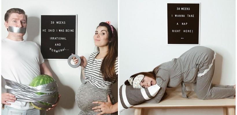 """Tot adevărul despre sarcină, spus prin poze de o mamă creativă. """"Poftă constantă de somn, mâncare și picioare umflate"""""""
