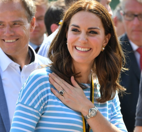 HEIDELBURG, GERMANY - JULY 20: Catherine, Duchess of Cambridge after competing against Prince William, Duke of Cambridge as they cox rowing boats in a friendly race between the twinned town of Cambridge and Heidelberg on the Neckar River during the second day of their visit to Germany on July 20, 2017 in Heidelberg, Germany. The royal couple are on a three-day trip to Germany that includes visits to Berlin, Hamburg and Heidelberg. (Photo by Bruce Adams-Pool/Getty Images)