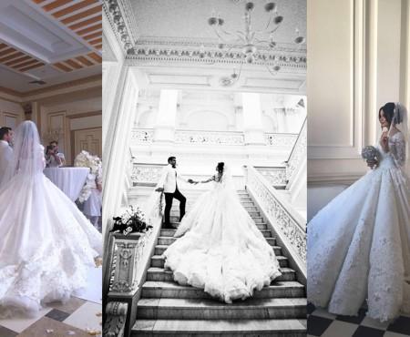 O rochie de 25 de kilograme și un buchet cu pietre prețioase! Vezi ținuta pentru care o optat bloggerița Hellen Monroe la nunta sa