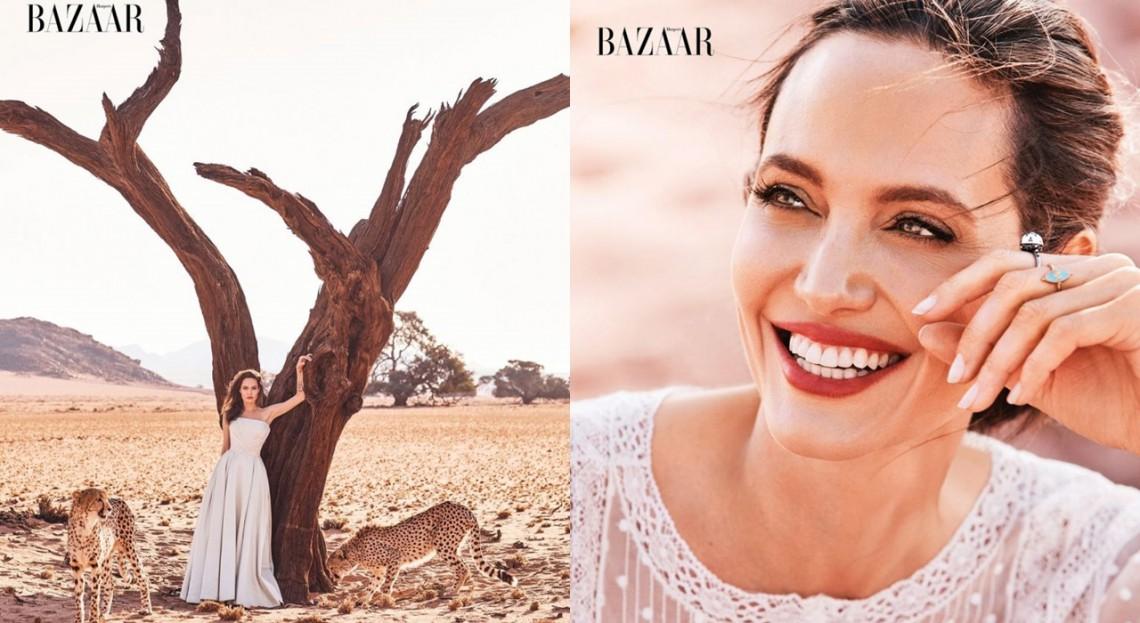 Angelina Jolie, superbă într-un pictorial alături de gheparzi! Cum a pozat actrița (Foto)