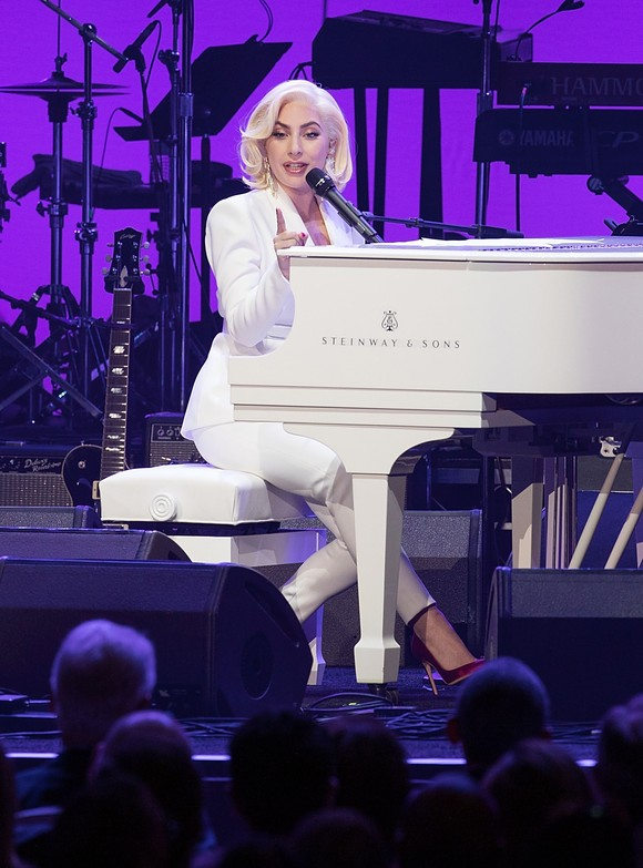 COLLEGE STATION, TX - OCTOBER 21:  Lady Gaga performs onstage during the 'Deep from the Heart: The One America Appeal Concert' at Reed Arena on the campus of Texas A&M University on October 21, 2017 in College Station, Texas.  (Photo by Rick Kern/Getty Images for Ford Motor Company)