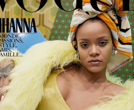Rihanna, cu un prosop pe cap, pe coperta unei reviste de modă