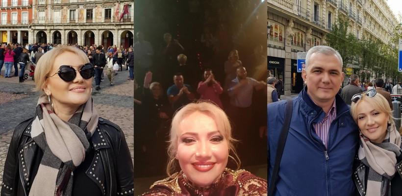 Adriana Ochișanu îmbină utilul cu plăcutul! A susținut un concert la Madrid, oraș pe care nu a ratat să îl viziteze împreună cu soțul său