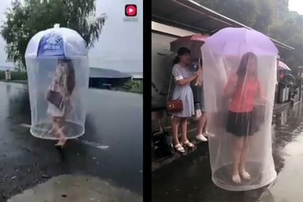 Cea mai amuzantă și ciudată umbrelă! Cu siguranță ploaia nu te va atinge (Video)