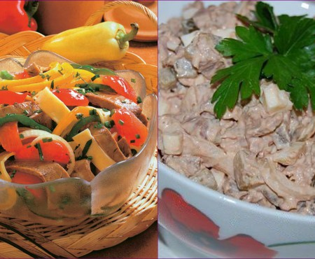 Două salate cu inimă de vițel pentru diferite gusturi. Tu ce alegi?