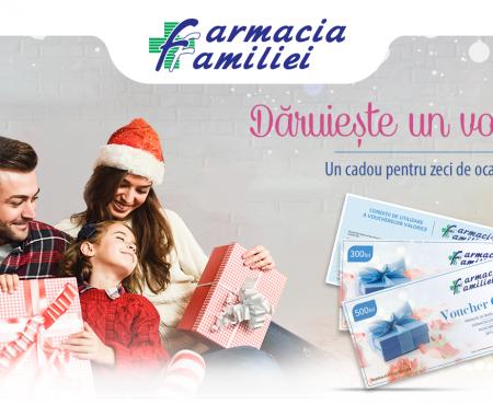 Alege să oferi un voucher cadou SĂNĂTATE și FRUMUSEȚE de la Farmacia Familiei!