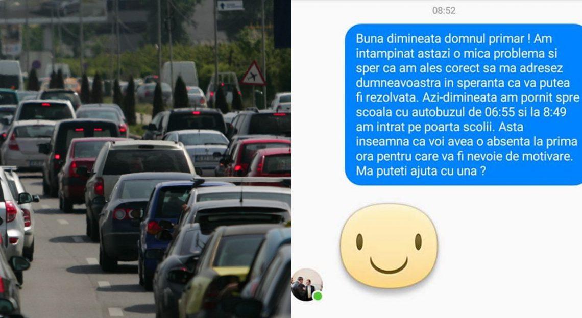 O elevă dn România i-a cerut primarului motivare pentru întârzierea din cauza traficului. Răspunsul a fost unul ironic