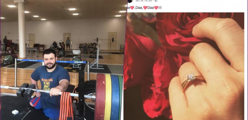 Halterofilul paralimpic Ștefan Roșca și-a cerut iubita de soție. Nadejda a plâns în hohote de fericire! (Video)