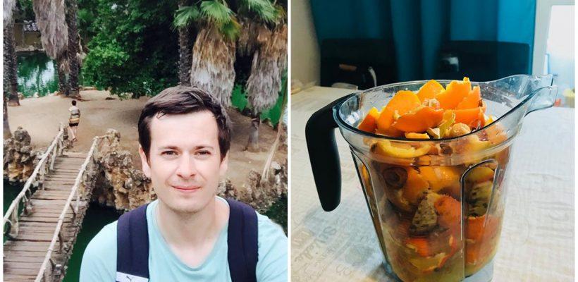 Eugeniu Mira trece toate cojile de legume și fructe prin blender ca să nu polueze natura